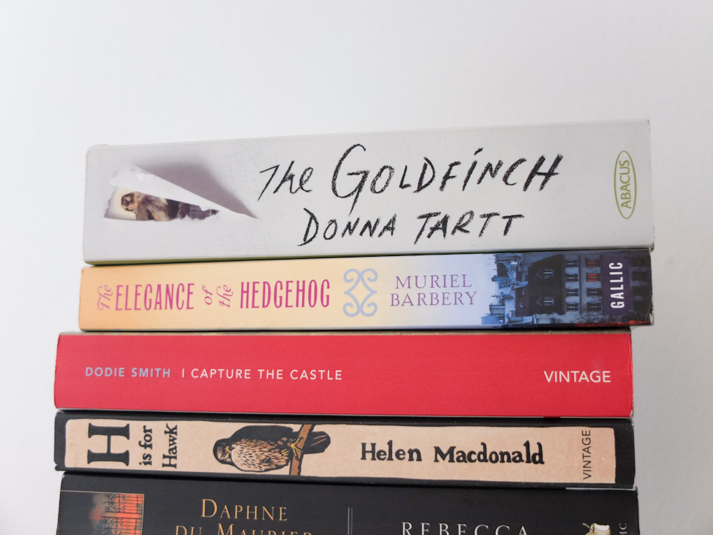 The Goldfinch stack of books