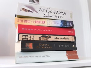 The Goldfinch book stack