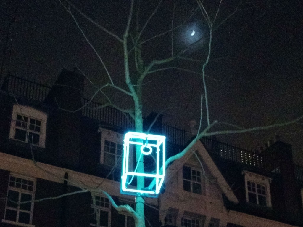 Lumiere London bird boxes light installation