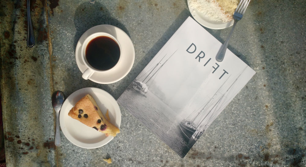 Drift magazine stockholm issue with coffee and coffee flatlay