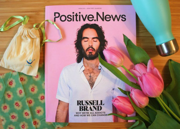 Positive News issue 92 cover Russell Brand