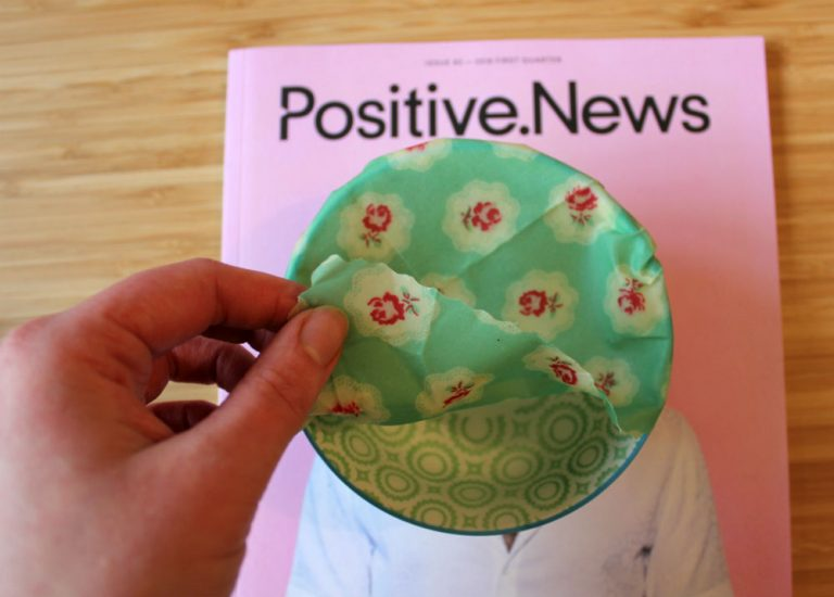 Positive News cover with Beeswax wraps