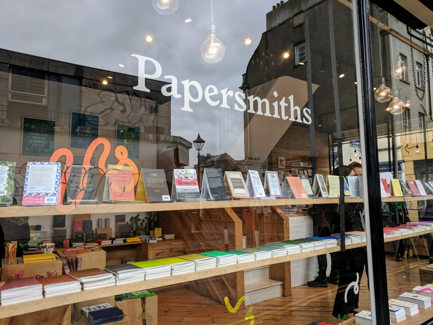 Papersmiths lettering on window