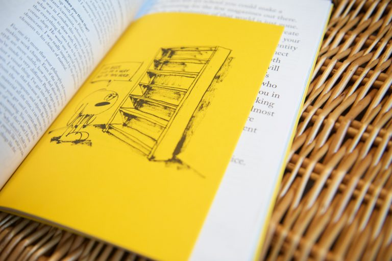 Mr Bingo illustration on yellow booklet insert in Backstage Talks issue 3