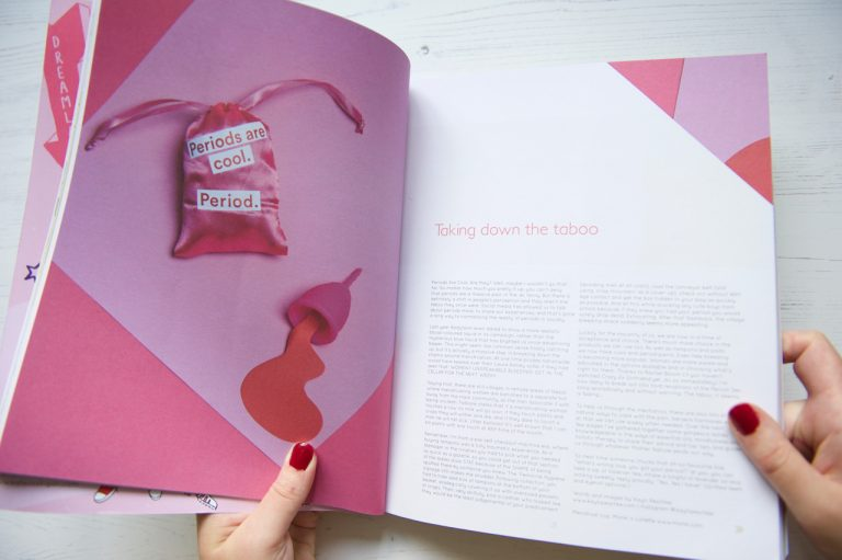 Caboodle Magazine open on double page about periods