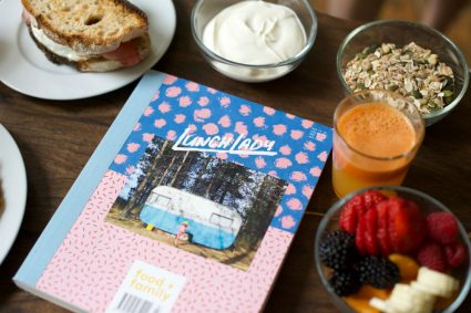 Lunch Lady issue 11 flatlay with breakfast food