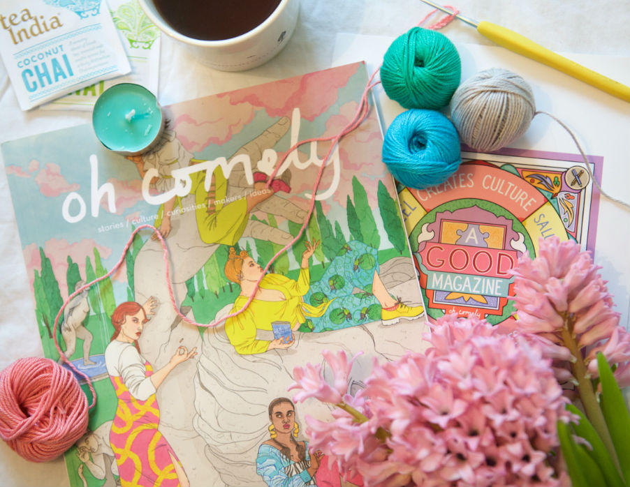 Oh comely magazine issue 42 with chai tea and hyacinths