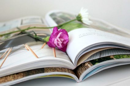 The Simple Things magazine open with flowers