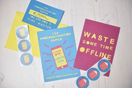 The Procrastination Paper postcards and stickers from Zabby Allen