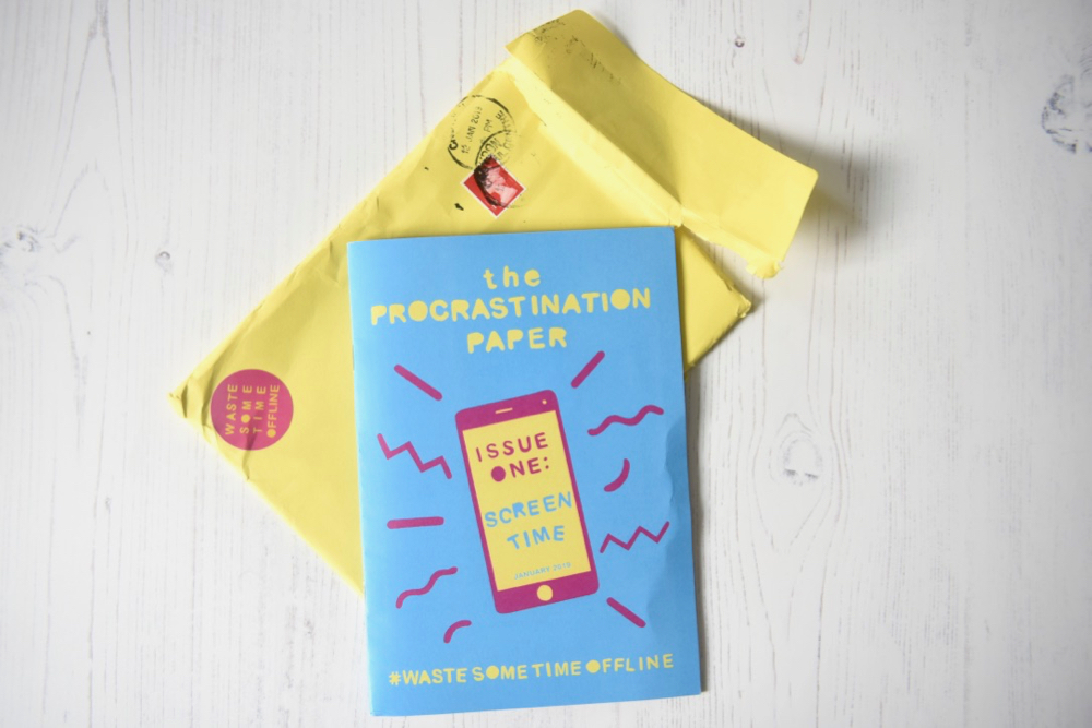 The Procrastination Paper issue 1 subscription with envelope