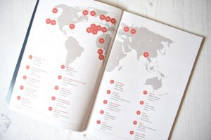 Ethos magazine contents page on the map page