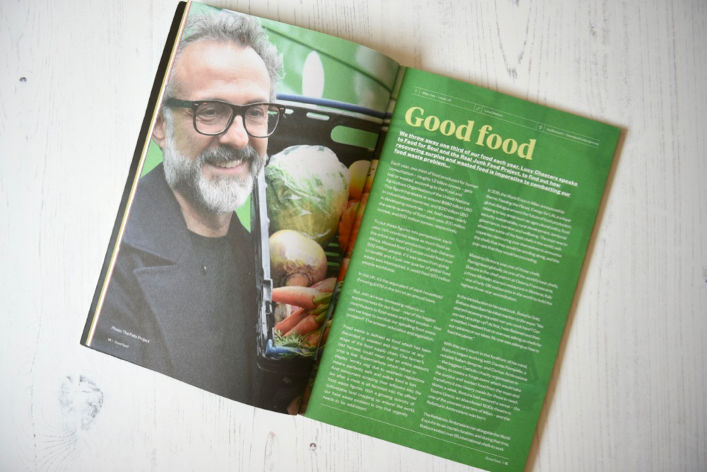 Ethos Magazine spread about Good Food with Massimo Bottura