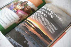Ethos magazine open on page Inspiring Change, conserving futures