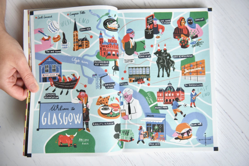 Fare magazine Glasgow issue illustrated map of the city