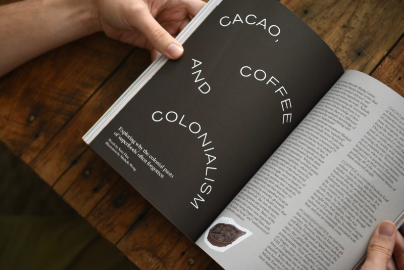 Gal-dem UN/REST magazine issue with title of Cacao, Coffee, and Colonialism